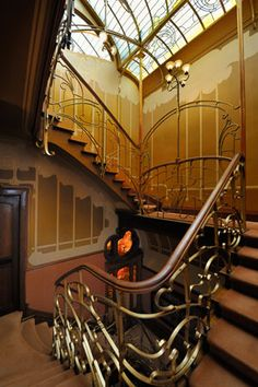 Art nouveau metalwork on staircase in Horta's house