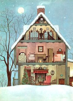 Check out the details in this illustration. I pored over every page. Taken from Clement C. Moore's The Night Before Christmas, 1961 Illustration by Gyo Fujikawa Art And Illustration, Christmas Illustration, Book Illustrations, Architecture Illustrations, Noel Christmas, Vintage Christmas Cards, The Night Before Christmas, Christmas Night, Home Art