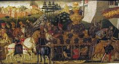 Bottega di paolo uccello,pannelli di cassone con armi medici e rucellai, firenze,1466 ca.