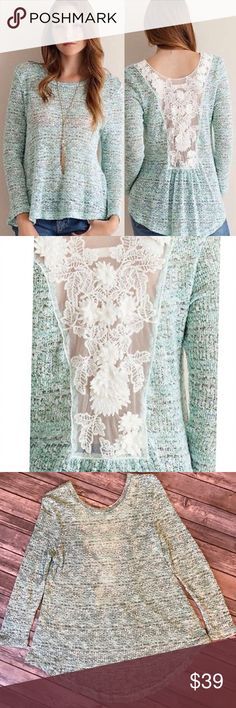 Mint Green Lace Back Knit Sweater NWOT Lace back Knit sweater.  Semi-sheer, high-low, long sleeve in a gorgeous mint Green color.  Looks beautiful on! 79% Polyester, 20% Rayon, 1% Spandex. Entro Tops