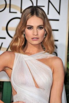 2016 Golden Globe Awards Red Carpet - Lily James: