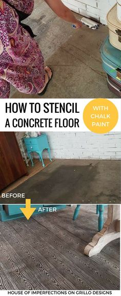 Learn how to stencil concrete floors - Sandra from House of Imperfections shares how to transform ugly concrete floors with stencil rollers and chalk paint