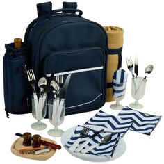Picnic at Ascot 4 Person Picnic Backpack with Blanket - Navy/Chevron - 081X-SCB