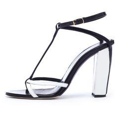 Oscar de la Renta Black & White Patent Leather Lilia Sandals ($690) ❤ liked on Polyvore featuring shoes, sandals, black, ankle wrap sandals, strappy sandals, t strap sandals, black block-heel sandals and black high heel sandals