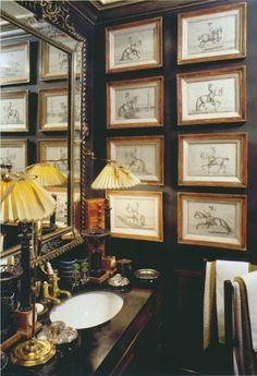 Love those yellow pleated lamp shades, the framed art prints, mirror Classic style we are addicted to