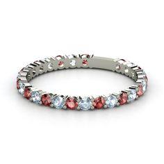 14K White Gold Ring with Garnet & Aquamarine - wedding band idea
