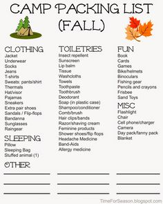 Personal Camp Packing Lists - Free Printable Camping Packing, Free Printables