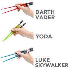Global Zombie - Star Wars Lightsaber Chopsticks, $12.99 (http://www.globalzombie.com/star-wars-lightsaber-chopsticks/)