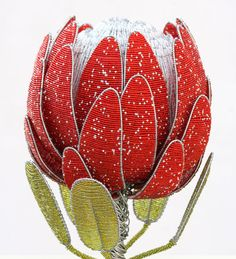 Obbligato Bead plants - Proteas Protea Art, Protea Flower, Diy Flowers, Paper Flowers, African Crafts, Simple Line Drawings, French Beaded Flowers, Flower Sketches, African Beads