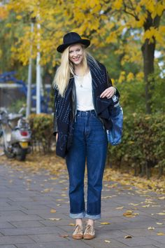 Attendees at the Kingpins denim trade show in Amsterdam worked quirky mix-and-match techniques and cozy layering from head to toe. [Photo: Peter Stigter]