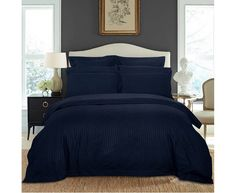 1000TC Ultra Soft Striped Quilt/Doona/Duvet Cover Set(Queen/King/Super King Size Bed)-Midnight Blue Super King Size Bed, Luxury Escapes, Striped Quilt, Australia Living, Luxury Holidays, Quilt Cover, Blue Fabric, Queen Size, Duvet Cover Sets