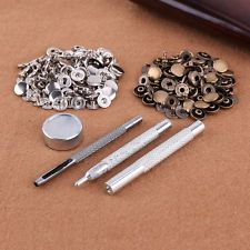 Fixing Tool Kit + Press Stud 50 Poppers 15mm Snap Fastener Sewing Leather Craft