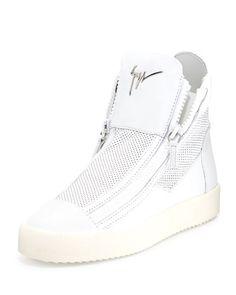 Mesh High-Top Sneaker, White by Giuseppe Zanotti at Neiman Marcus.