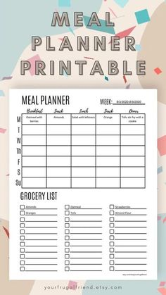 Menu Planner Printable, Grocery List Printable, Meal Planning Printable, Weekly Meal Planner, Grocery Lists, Budget Planner, Planner Template, Menu Planning, Food Planner
