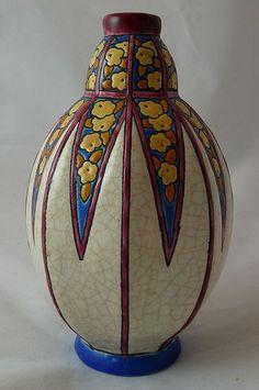 Art Deco Longwy Vase with Crackle Glaze and Stylized Flowers