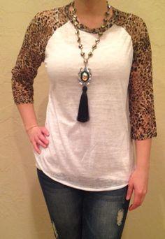 Lace Leopard Sleeve Burnout (WHITE OR BLACK) S-XXXL