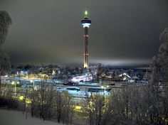 Särkänniemi Adventure Park in winter time in Tampere, Finland Cities In Finland, Winter Time, Towers, Cn Tower, Serenity, Birth, Travel Destinations, Adventure, Photo And Video