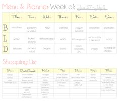Meal Planner Printable  The OJays Planners And Meal Planner