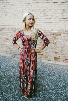 The perfect Fall colors on a perfect Fall Maxi Dress!