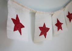 simple 4th of July decoration with burlap, twine, paint and star fruit!
