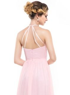 A-Line/Princess Scoop Neck Floor-Length Chiffon Bridesmaid Dress With Ruffle (007051366) - JJsHouse