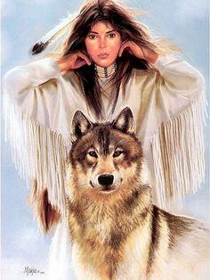 Американская художница Maija. Часть 1 (североамериканские индианки и волки). Обсуждение на LiveInternet - Российский Сервис Онлайн-Дневников