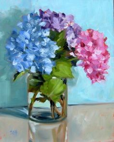 DPW Fine Art Friendly Auctions - Hydrangeas today by Sandy Haynes