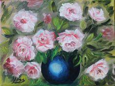 rózsák kék vázában. olaj vászon,