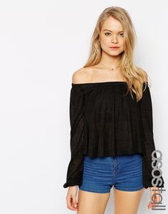 ASOS TALL Smock Top with Off Shoulder in Texture with Bell Sleeve