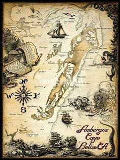 """""""Ambergris Caye Belize Nautical Chart"""" by Savanna Redman: Ambergris Caye, Belize Nautical ChartDrawn and painted by hand, with India ink and watercolor on DArches paper. This ink drawing was the beginning of my charts, mermaids and sea monsters. Pirate Maps, Pirate Theme, Pirate Treasure Maps, Pirate Birthday, Ambergris Caye, Nautical Chart, Fantasy Map, Pirate Life, Vintage Maps"""
