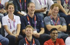 Kate, William and Harry watching Olympic cycling at the Velodrome.