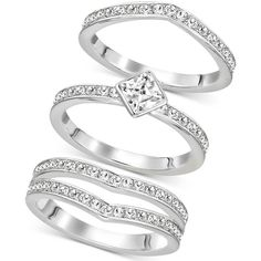 Swarovski Silver-Tone Trio Set Stackable Pave and Crystal Rings (2.626.305 IDR) ❤ liked on Polyvore featuring jewelry, rings, silver, polish jewelry, stackable rings, crystal stone rings, stackers jewelry and crystal jewellery