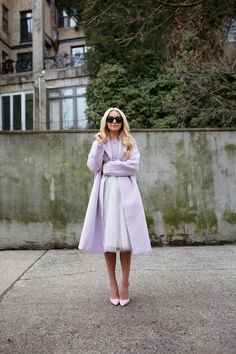 Atlantic-Pacific: lavender coat, lavender shirt, lavender tulle skirt, and lavender heels