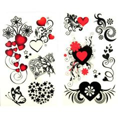 heart flower tattoo | ... waterproof red heart black star flower and butterfly temporary tattoos