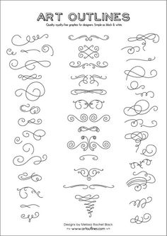 embroidery ideas? - Set of Swashes Swirls Full Page - 46 Original Hand Drawn Flourishes, Glyphs and Ornaments