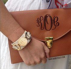 Monogrammed Beige Leather Cuff Bracelet