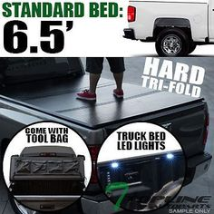 "Tri-Fold Solid Tonneau Cover+Led Lights Kit 2014+ Silverado/Sierra 6.5 Ft 78""Bed"