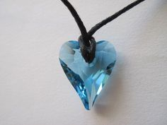 CHILD'S Jewelry AQUAMARINE HEART CRYSTAL Necklace Made w/Swarovski Crystal MARCH #Handcrafted