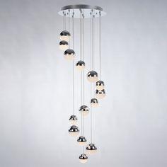 Corona 14 light spiral cluster ceiling pendant - chrome