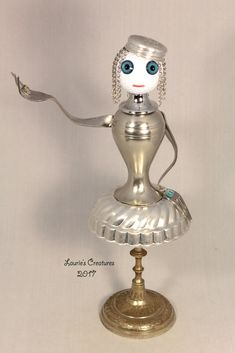 """Francesca"" ~ Found object, junk art created by Laurie Schnurer in 2017. To purchase one of Laurie's Creatures click on this link to her sales page. https://www.facebook.com/LauriesCreatures/"
