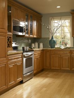 Grey Kitchen Walls With Oak Cabinets gray walls oak cabinets | light blue/grey with oak cabinets