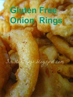 Gluten Free Onion Rings with Brown Rice Flour & Tapioca Starch. Gluten Free Appetizers, Gluten Free Snacks, Gluten Free Dinner, Foods With Gluten, Gluten Free Cooking, Gluten Free Recipes, Gf Recipes, Veggie Recipes, Paleo Dinner