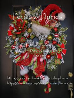 """*NEW* """"Patches"""" Christmas Elf Wreath by Petals & Plumes©"""