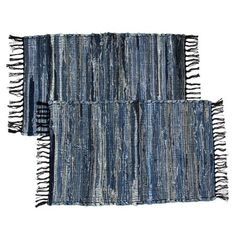2 Denim Chindi Doorway Rag Rugs 100% Cotton Recycled Blue Jean Entryway Woven Mat