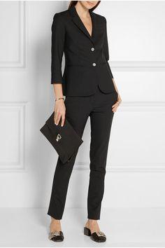 Black stretch wool-blend Button fastenings through front 88% wool, 10% polyamide, 2% elastane; lining: 34% cotton, 33% wool, 33% viscose Dry clean