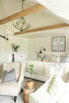 Farmhouse Master Bedroom Reveal | farmhouse style | white bedroom | farmhouse bedroom | faux beams | neutral decor | board and batten |