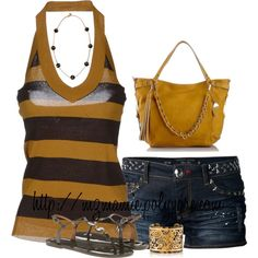 A fashion look from March 2014 featuring stripe top, blue jean shorts and olive sandals. Browse and shop related looks. Summer Wear, Spring Summer Fashion, Summer Time, Stylish Eve Outfits, Cute Outfits, Short Outfits, Summer Outfits, Looks Style, My Style