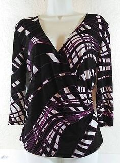 Ellen Tracy Purple Black White V-Neck Blouse Side Gather Size Medium B238