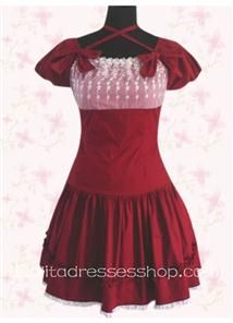 ae36fc1968d0e7 Cheap Graceful Dark Red Square Lace Bust Short Sleeves Sweet Lolita Dress  Sale At Lolita Dresses Online Shop. We provide Lolita products with quality  and ...