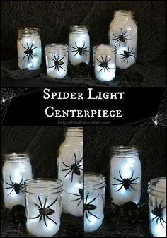 DIY Halloween Spider Light Centerpiece. Build this fun and easy light centerpiece for your Halloween decor with only 4 items you have already in your home!